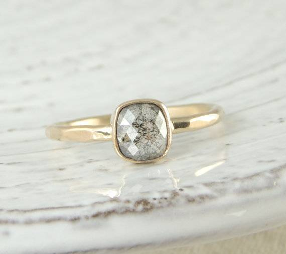 16 - Rose Cut Diamond Handmade Engagement Ring, 14k Yellow Gold $950+ pointnopointstudio