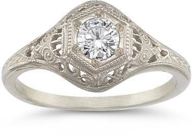 17 – Antique-Style Diamond Ring in 14K White Gold $975 applesofgold