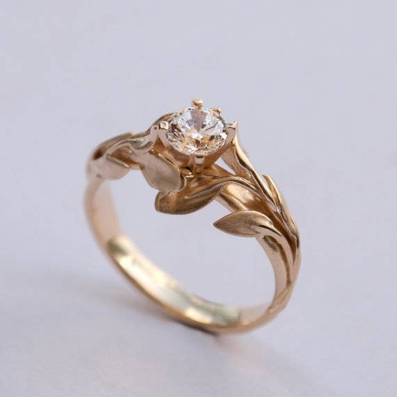 18 - Leaves Engagement Ring No. 4 - 14K Gold and Diamond engagement ring, $1000+ doronmerav