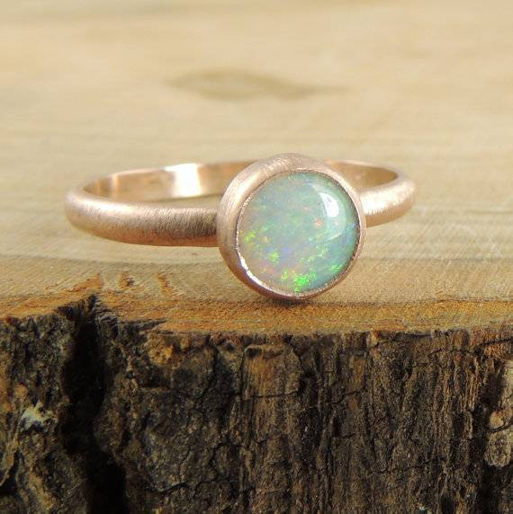 7 - Opal Engagement Ring 14k Rose Gold $355 pnps