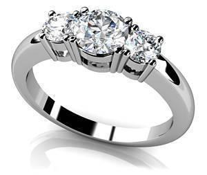 Rounded Band 3 Stone Engagement Ring