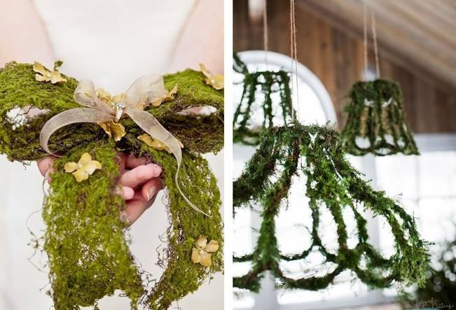 Moss bow ring pillow alternative and moss covered  chandeliers