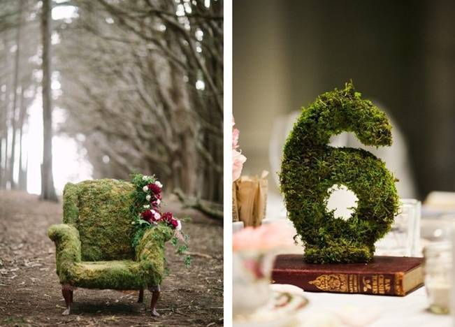 Moss covered chair, moss table numbers