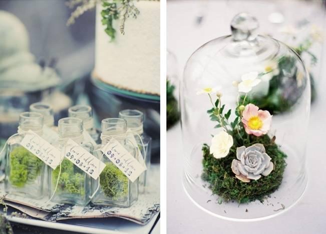 Moss favor jars and terrarium centerpiece