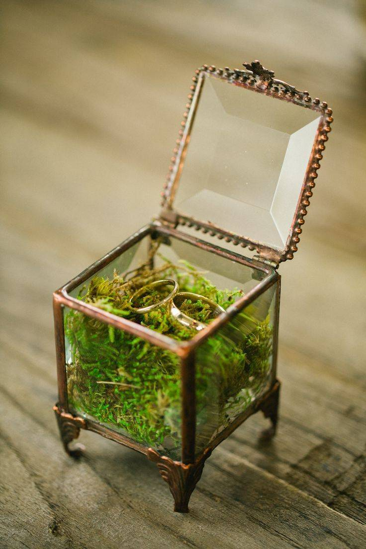 Vintage box filled with moss to hold rings. Wedding Planner LK Events  Florist Stems. Photography Evan Hunt Photography via style me pretty