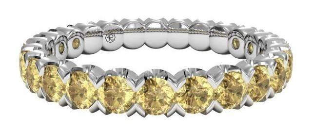 Classic Yellow Sapphire Stackable Band 18k White Gold