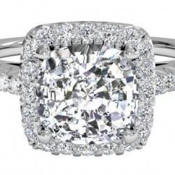 French-Set Halo Diamond Band Engagement Ring - in 14kt White Gold (0.21 CTW)