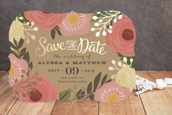 Floral Canopy Foil-Pressed Save The Date Cards Minted