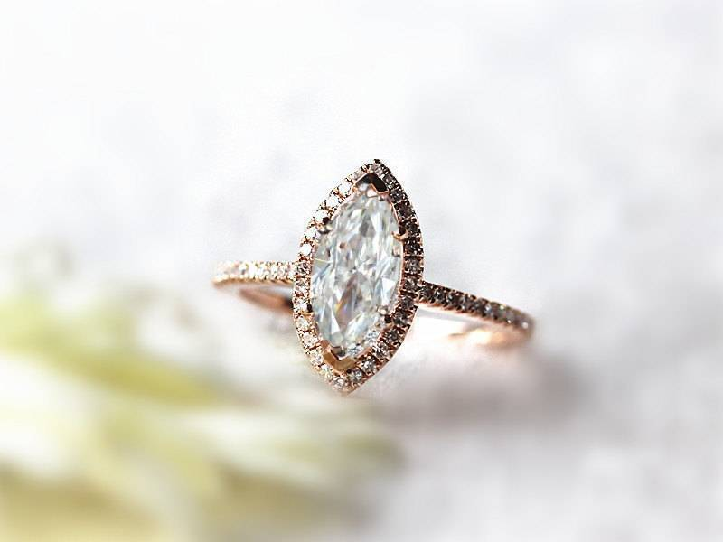InOurStar.etsy.com – Marquise Moissanite Engagement Ring Diamond Halo Conflict Free 14k Rose Gold $699+