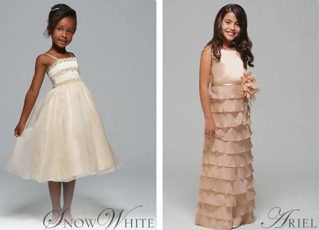 Kirstie Kelly snow white and ariel inspired flower girl dresses
