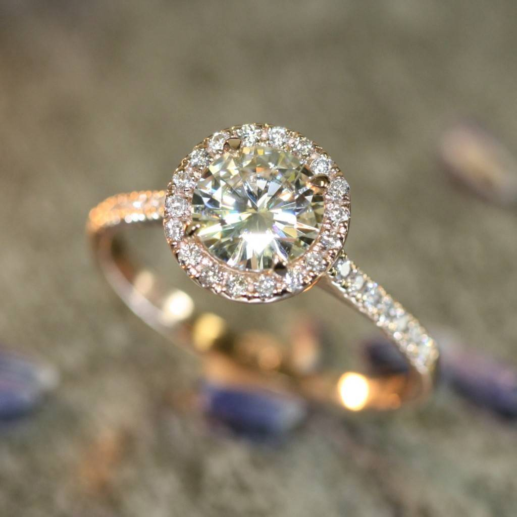 LaMoreDesign.etsy.com - 14k Rose Gold Halo Diamond Moissanite Engagement Ring in Half Eternity Diamond Wedding Band 7mm Round Forever Brilliant Moissanite  $1498+