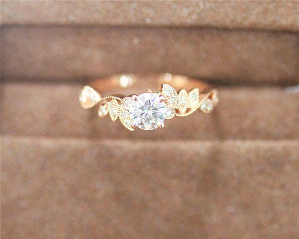LoraKJewelry.etsy.com Moissanite Ring 5mm Moissanite Diamond Engagement Ring Unique Design Ring 14k Rose Gold $492