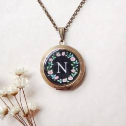 Monogram Rose Wreath Locket 1