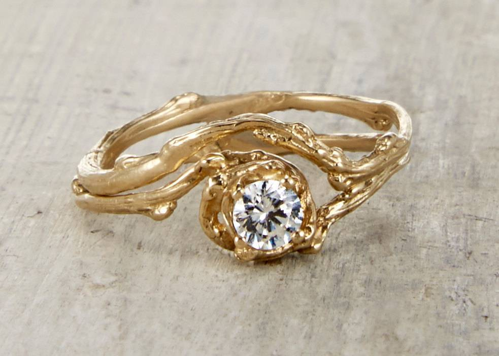 OliviaEwing.etsy.com - Naples .25 Carat Moissanite Engagement Ring - 14kt Gold and Moissanite Customizable Twig $648