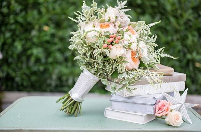 Peach and Teal Vintage Book Themed Wedding Inspiration {Star Noir Studio} 1