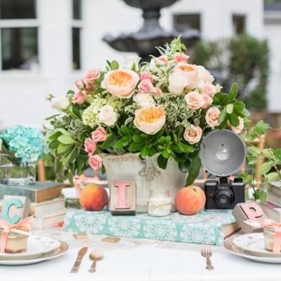 Peach & Teal Vintage Book Themed Wedding Inspiration