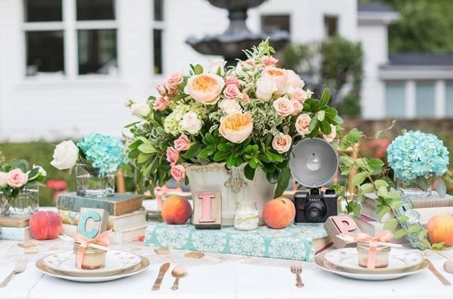 Peach and Teal Vintage Book Themed Wedding Inspiration {Star Noir Studio} 13
