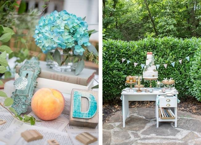 Peach and Teal Vintage Book Themed Wedding Inspiration {Star Noir Studio} 18