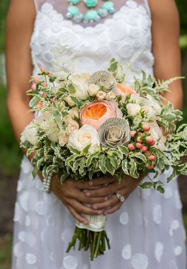 Peach and Teal Vintage Book Themed Wedding Inspiration {Star Noir Studio} 3