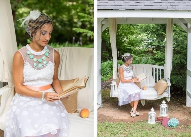 Peach and Teal Vintage Book Themed Wedding Inspiration {Star Noir Studio} 4