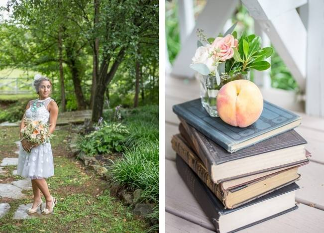 Peach and Teal Vintage Book Themed Wedding Inspiration {Star Noir Studio} 8