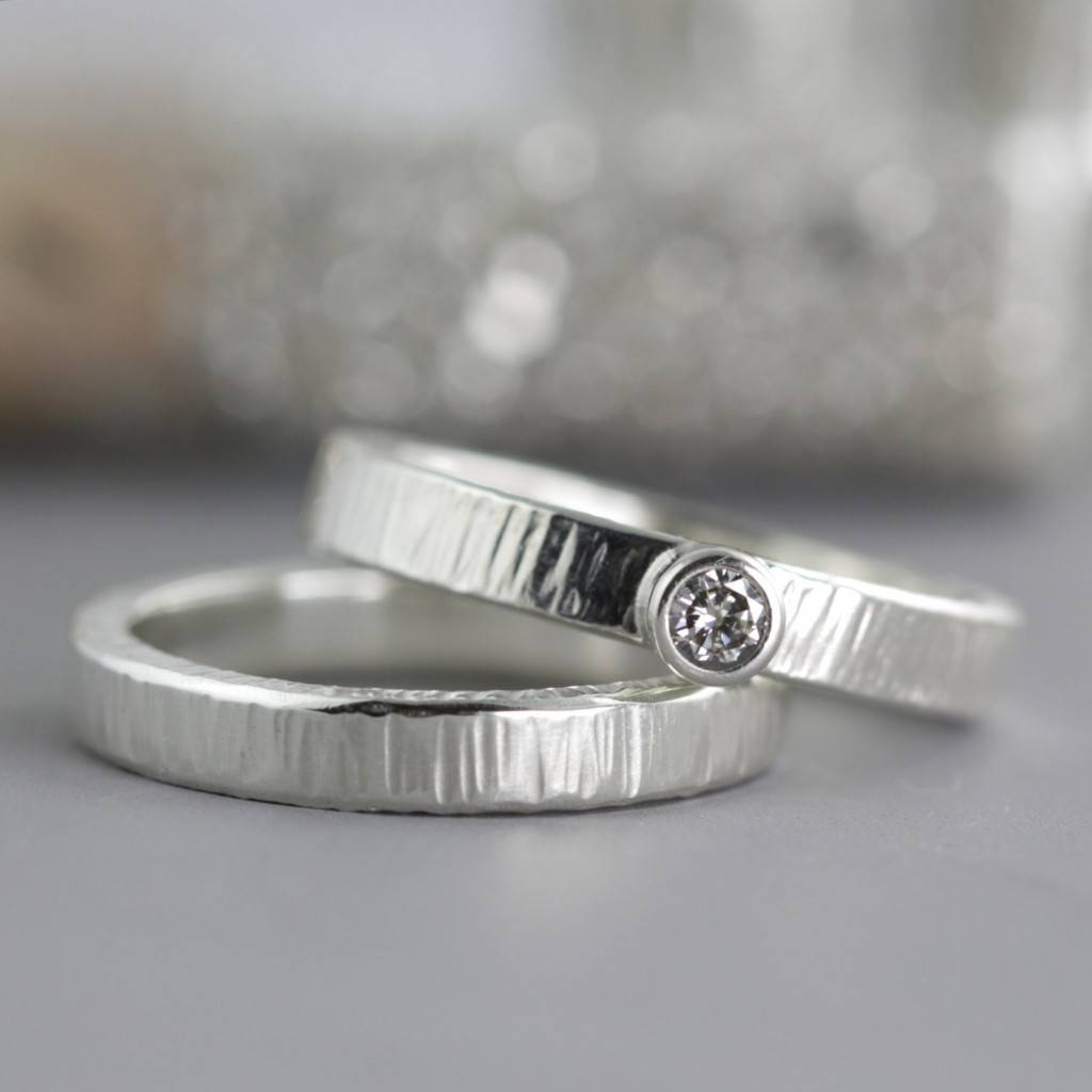 SarahHoodJewelryetsy.com Coin Edge Wedding Set - Engagement Wedding Ring Set - Sterling Silver Wedding Band - Moissanite Ring $265+