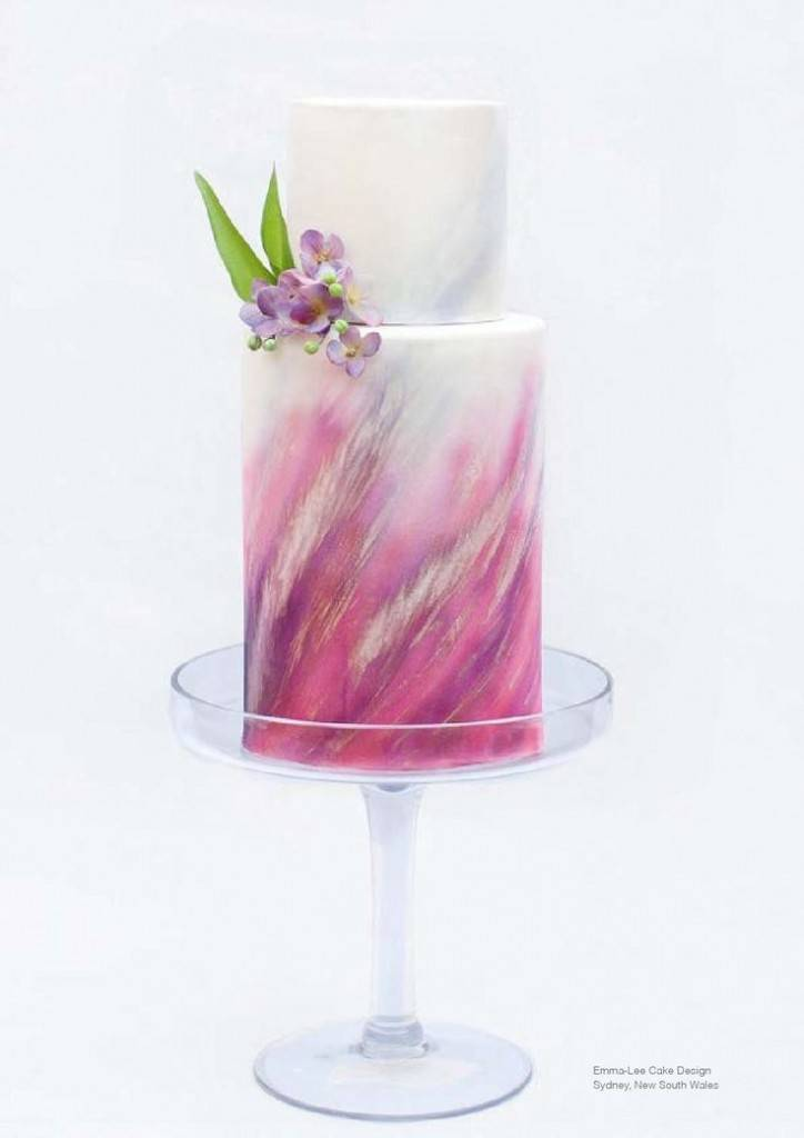 fuchsia watercolor cake via sweet magazine