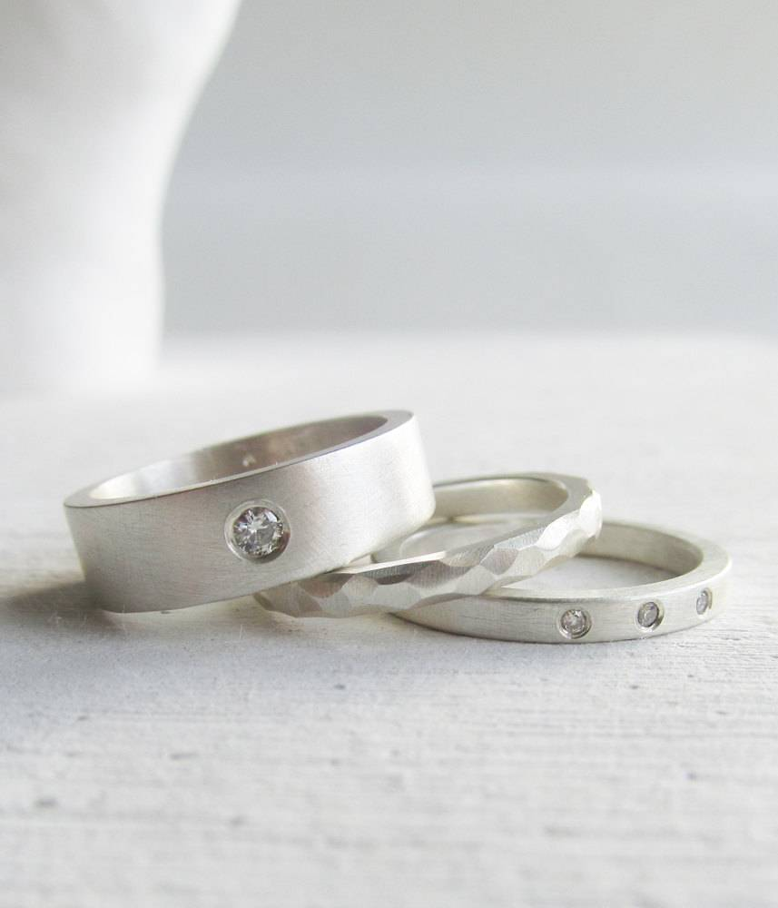 lolide.etsy.com - modern wedding band set - Moissanite and diamond palladium sterling silver engagment ring set - his and hers $395