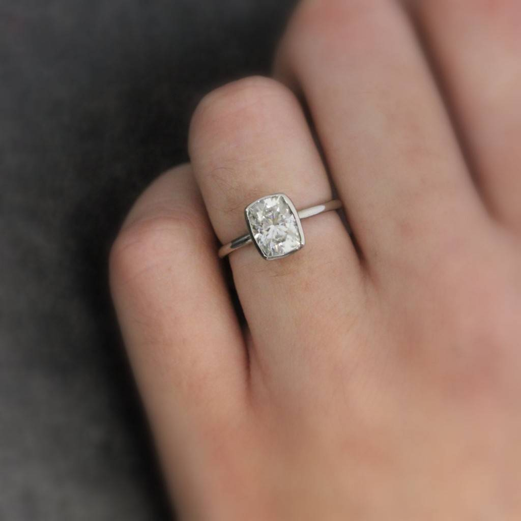 onegarnetgirl.etsy.com - Sparkling Moissanite Gold Engagement Ring  14k Palladium White Gold with Large Cushion Cut Solitaire $1998