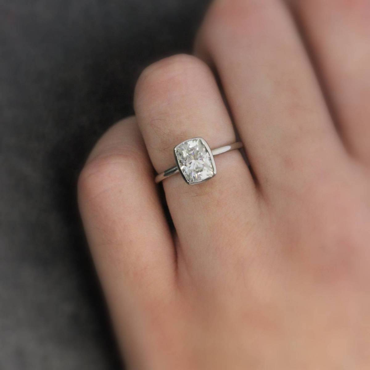 onegarnetgirl.etsy.com – Sparkling Moissanite Gold Engagement Ring  14k Palladium White Gold with Large Cushion Cut Solitaire $1998