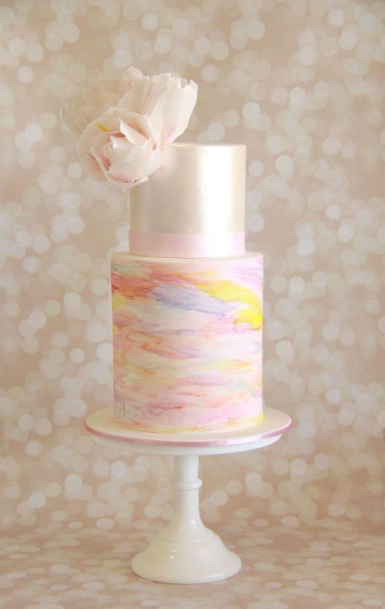 pastel watercolor wedding cake via Savvy Fare Cakes
