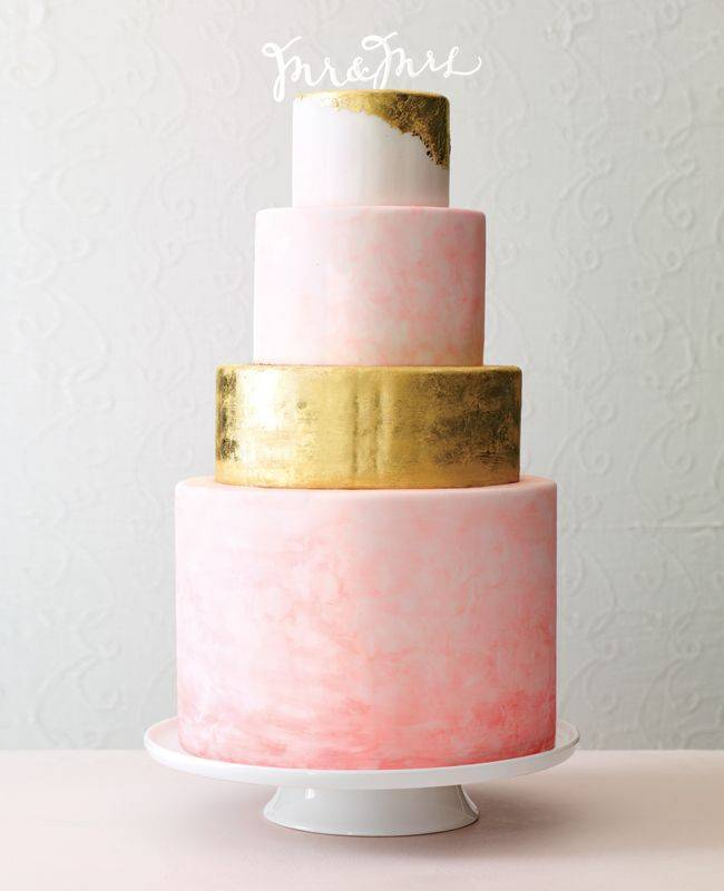 pink and gold watercolor wedding cake - theknot