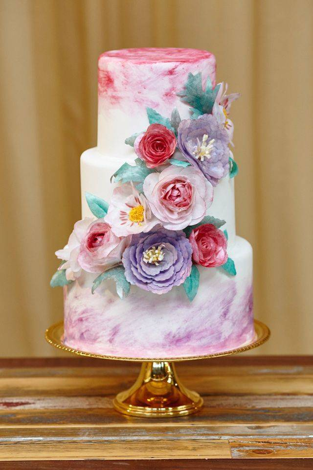 pink and purple watercolor cake – WojoImage Photography