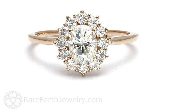 rareearth.etsy.com 18K Cluster Moissanite Engagement Ring Oval Halo Forever Brilliant Moissanite Ring Conflict Free Diamond Alternative $1199