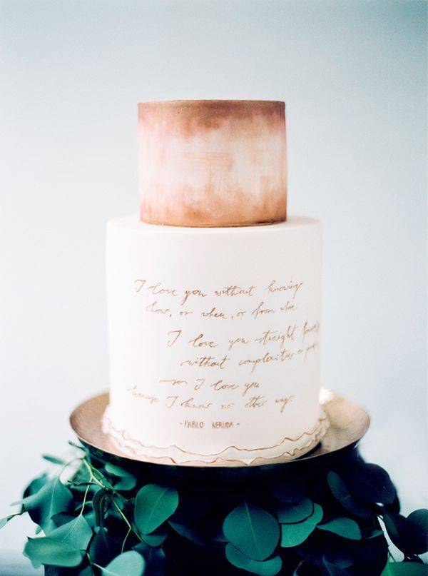 watercolor and calligraphy wedding cake – Photo by Peaches ...