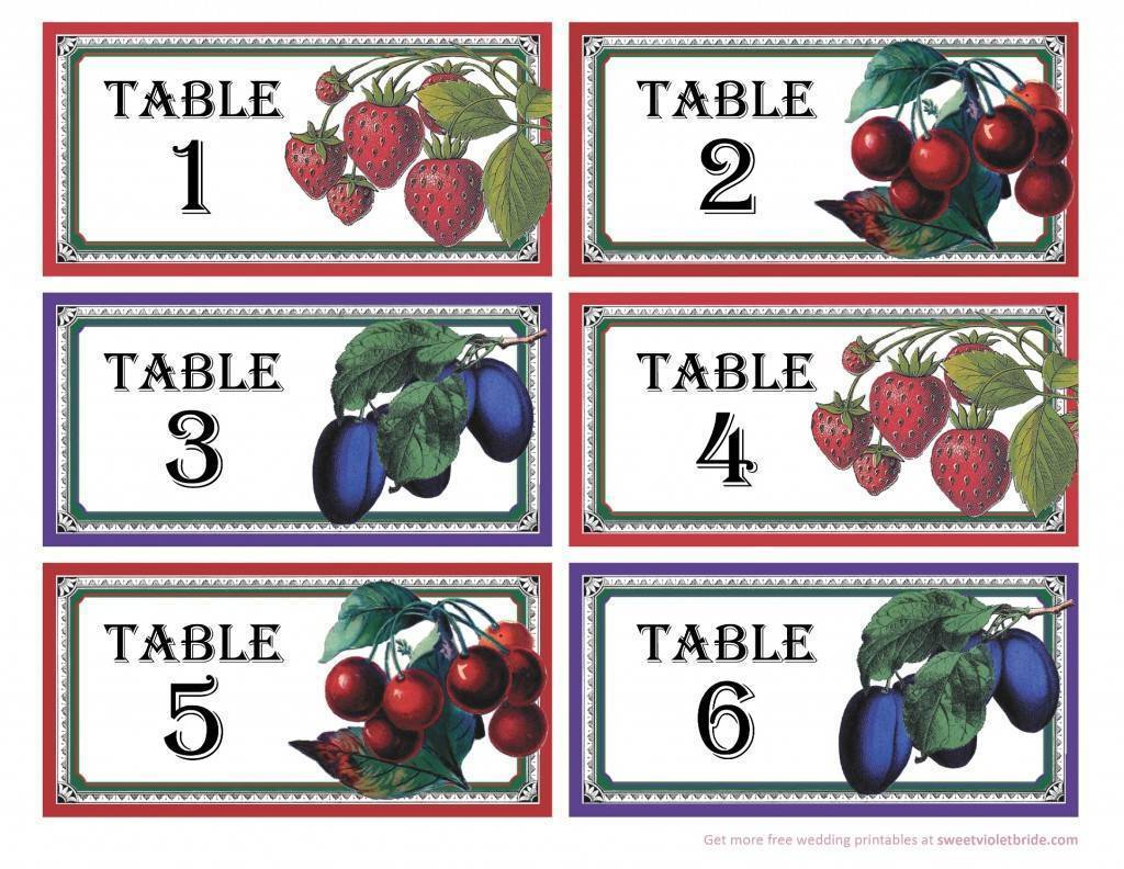 fruit label table numbers - free diy printable - 1-6