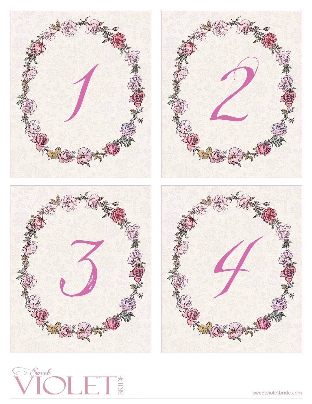 pink whimsical rose wreath + lace table numbers – free diy printable – 1-4