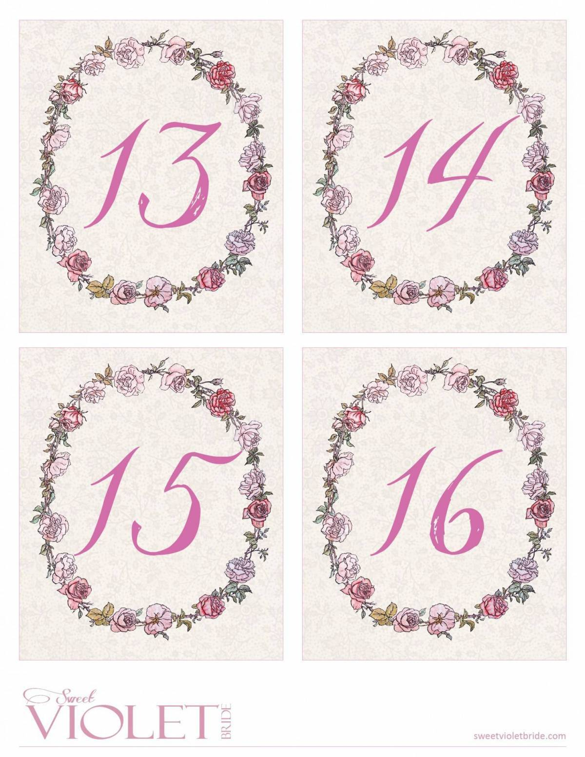 picture regarding Diy Printable Table Numbers called Red Rose Wreath Desk Figures: Totally free Wedding day Printable