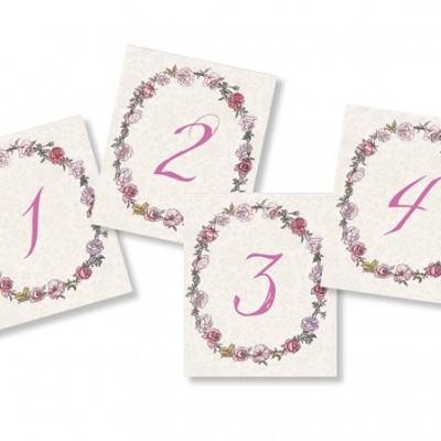 Pink Rose Wreath Table Numbers: Free Wedding Printable