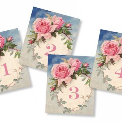Romantic Vintage Rose Table Numbers: Free Wedding Printable