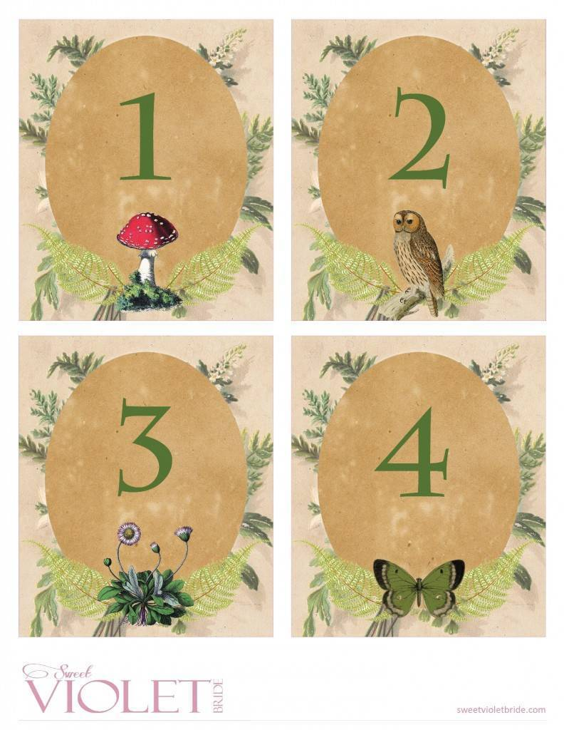 photo about Diy Printable Table Numbers identified as Woodland Desk Figures: Cost-free Marriage Printable - BridalPulse