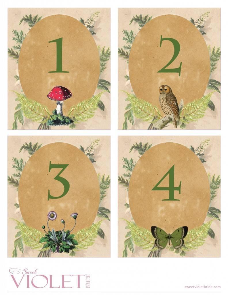 woodland wedding table numbers - free diy printable 1-4