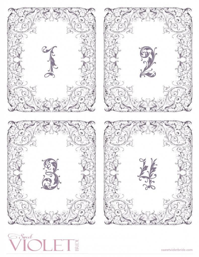 fairytale wedding table numbers - free diy printable - 1-4
