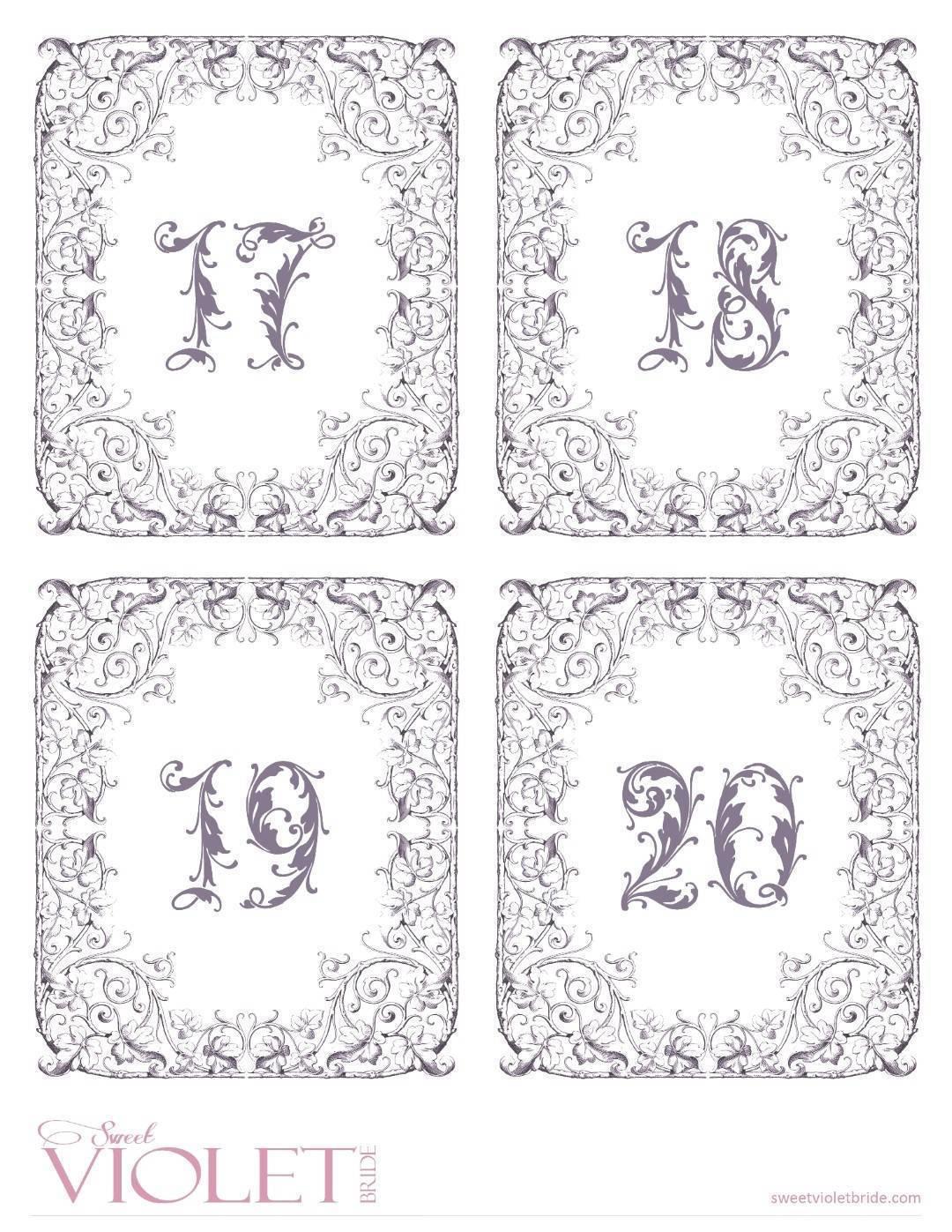 fairytale table numbers free wedding printable bridalpulse