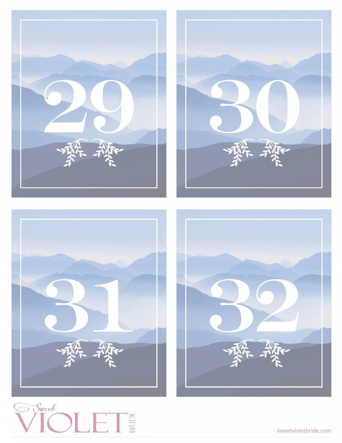 blue mountain table numbers free wedding printable