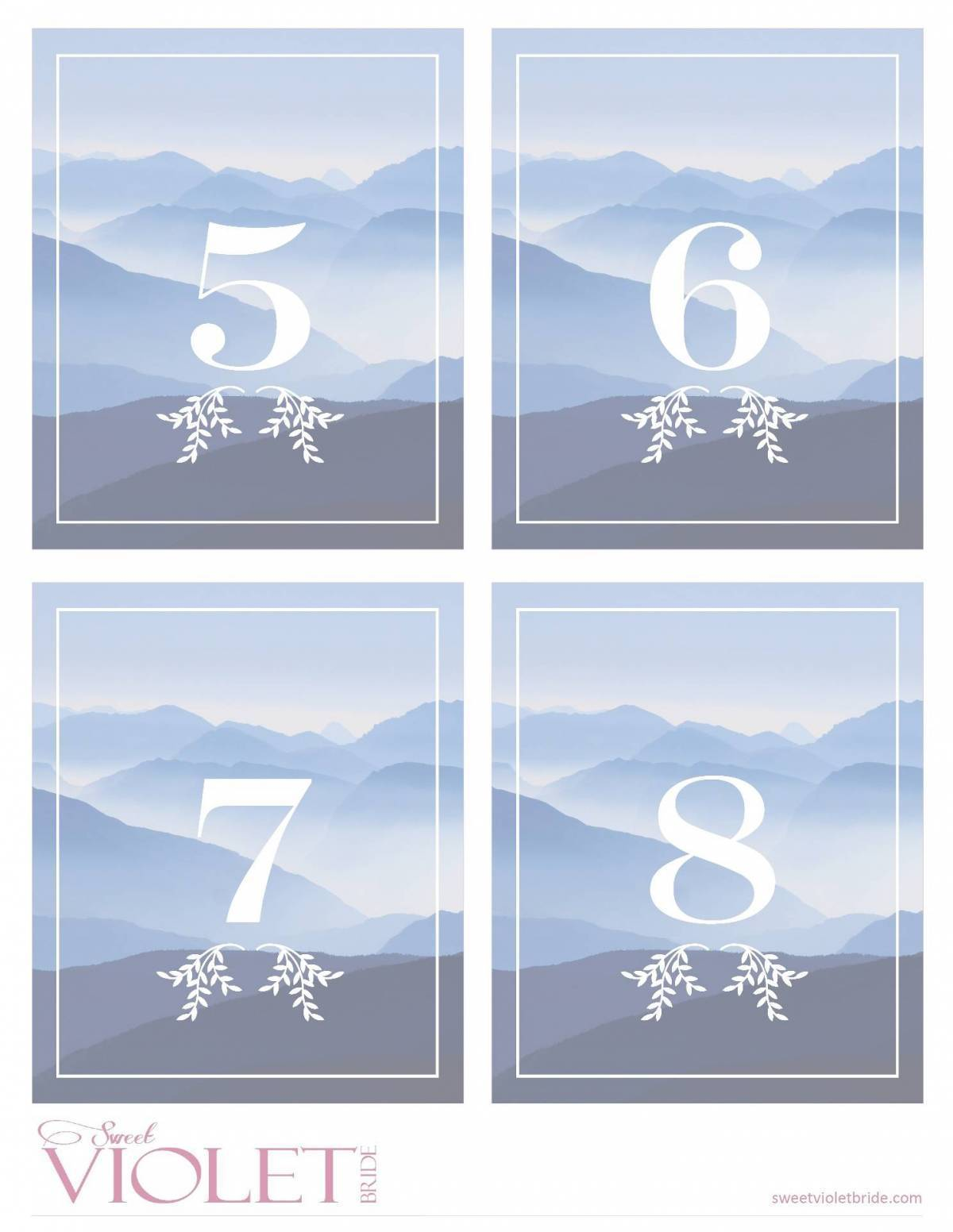 Blue Mountain Table Numbers: Free Wedding Printable