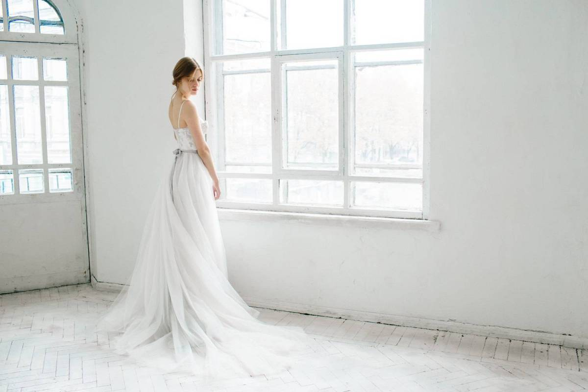 Ivory and gray wedding dress - Ivy $950 CarouselFashion.etsy.com