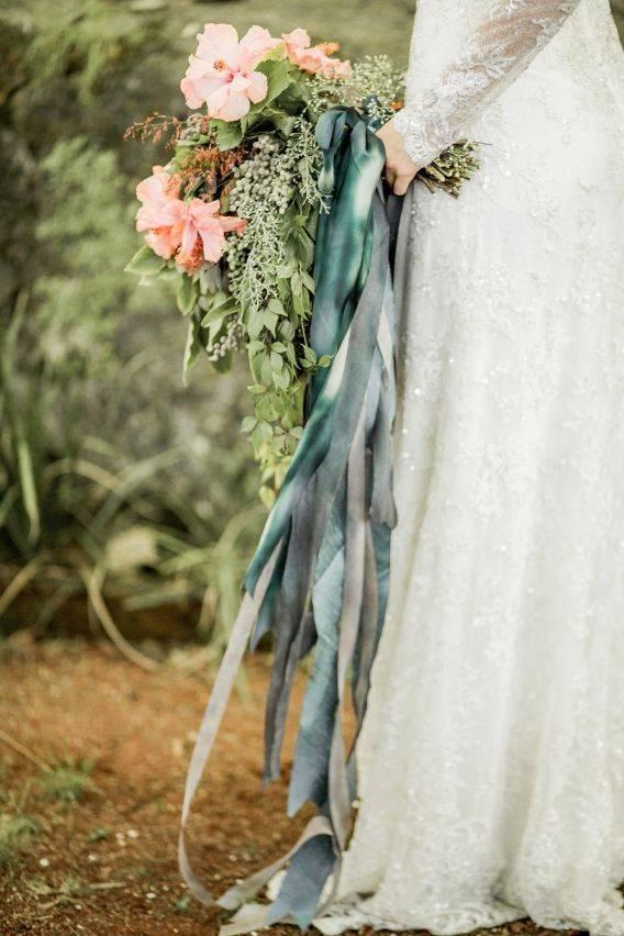 naomikenton blue ribbons on a bouquet