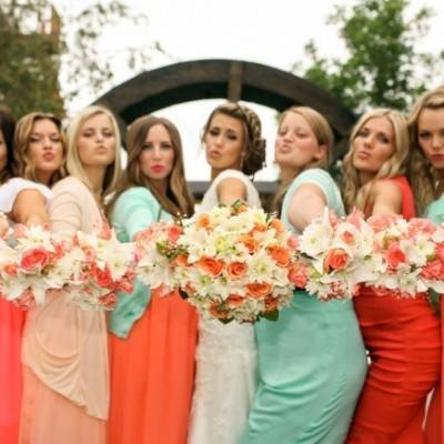 Coral + Sweet Mint Summertime Ranch Wedding Reception