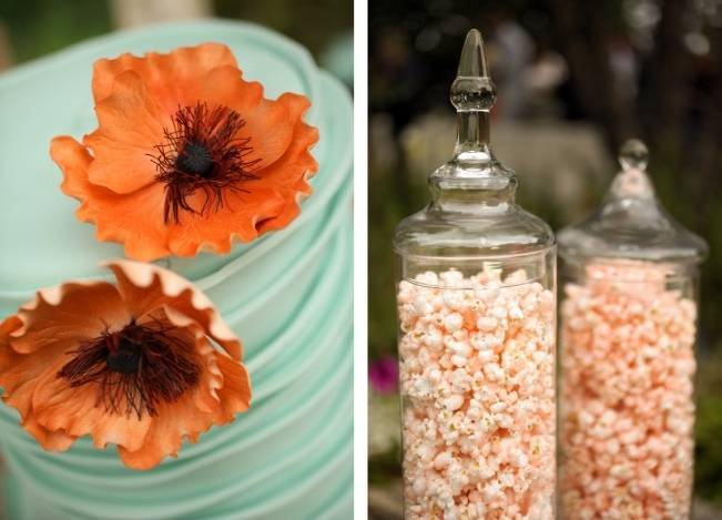 Coral + Sweet Mint Summertime Ranch Wedding Reception 14